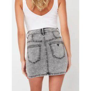 GUESS Retro Anne Acid Wash Womens Denim Skirt Mini